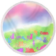 Cats In The Meadow Round Beach Towel