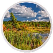 Cattails And Clouds Round Beach Towel
