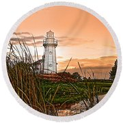 Cattails And Lighthouse In Indiana Round Beach Towel
