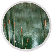 Cattails On Green Round Beach Towel