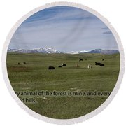 Cattle And Bible Verse Round Beach Towel