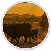 Cattle Drive 10 Round Beach Towel
