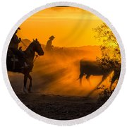 Cattle Drive 14 Round Beach Towel