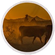 Cattle Drive 16 Round Beach Towel