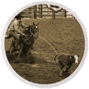 Cattle Roping In Colorado Round Beach Towel