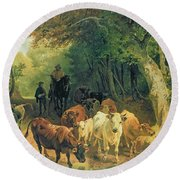 Cattle Watering In A Wooded Landscape Round Beach Towel