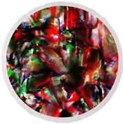 Caught In The Crowd Two Water Color And Pastels Wash Round Beach Towel