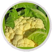 Cauliflower With A Visitor. Square Format Round Beach Towel