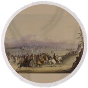 Cavalcade By The Snake Indians Round Beach Towel