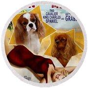 Cavalier King Charles Spaniel Art - Moon Over Miami Movie Poster Round Beach Towel