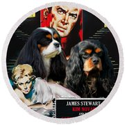 Cavalier King Charles Spaniel Art - Vertigo Movie Poster Round Beach Towel
