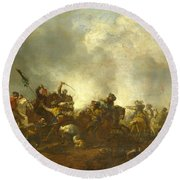 Cavalry Attacking Infantry Round Beach Towel