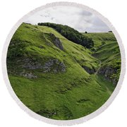 Cave Dale From Peveril Castle Round Beach Towel