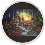 Cave Dwellers Round Beach Towel