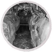 Cave Entrance Black And White Round Beach Towel