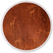 Cave Paintings By Bushmen, Damaraland Round Beach Towel