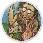 Caveman And Fire Round Beach Towel