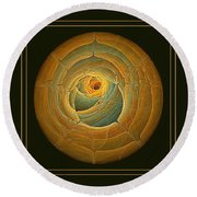 Cavern Framed Green And Gold Round Beach Towel