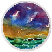 Cayman Color Water Round Beach Towel