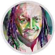 Cecil Taylor - Watercolor Portrait Round Beach Towel