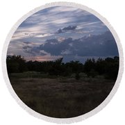 Cedar Park Texas Cedar And Clouds Sunset Round Beach Towel