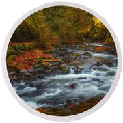 Cedar Creek Morning Round Beach Towel