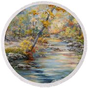 Cedar Creek Trail Round Beach Towel