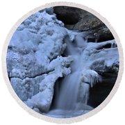 Cedar Falls In Winter At Hocking Hills Round Beach Towel by Dan Sproul