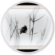 Cedar Waxwing - Black And White  Round Beach Towel