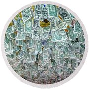 Ceiling Of Dollar Bills  Round Beach Towel