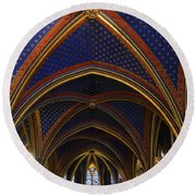Ceiling Of The Sainte-chapelle  Paris Round Beach Towel