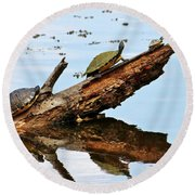 Happy Family Of Turtles Round Beach Towel