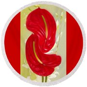 Celebration - Red Anthurium And White Orchids  Round Beach Towel