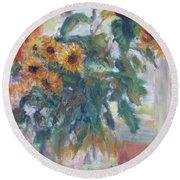 Sale - Sunflowers In Window Light - Original Impressionist - Large Oil Painting Round Beach Towel