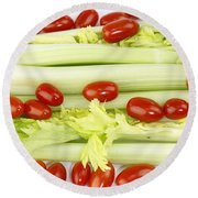 Celery And Tomatoes Round Beach Towel
