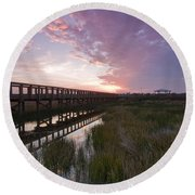 Celery Fields Sunset Round Beach Towel