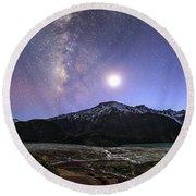 Celestial Sky With Milky Way Galaxy Round Beach Towel