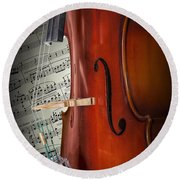 Cello Bridge And Beethoven Round Beach Towel