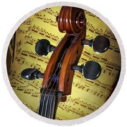 Cello Scroll With Sheet Music Round Beach Towel