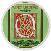 Celtic Christimas O Initial Round Beach Towel