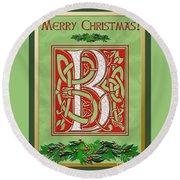 Celtic Christmas B Initial Round Beach Towel
