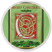 Celtic Christmas C Initial Round Beach Towel