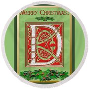 Celtic Christmas D Initial Round Beach Towel