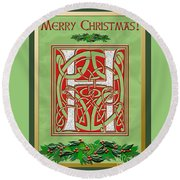 Celtic Christmas H Initial Round Beach Towel