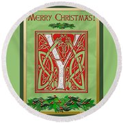 Celtic Christmas Initial Y Round Beach Towel