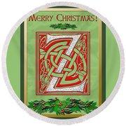 Celtic Christmas Initial Z Round Beach Towel