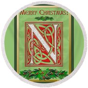 Celtic Christmas N Initial Round Beach Towel