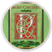 Celtic Christmas P Initial Round Beach Towel