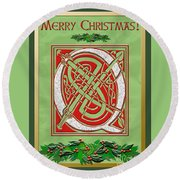 Celtic Christmas Q Initial Round Beach Towel