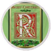 Celtic Christmas R Initial Round Beach Towel